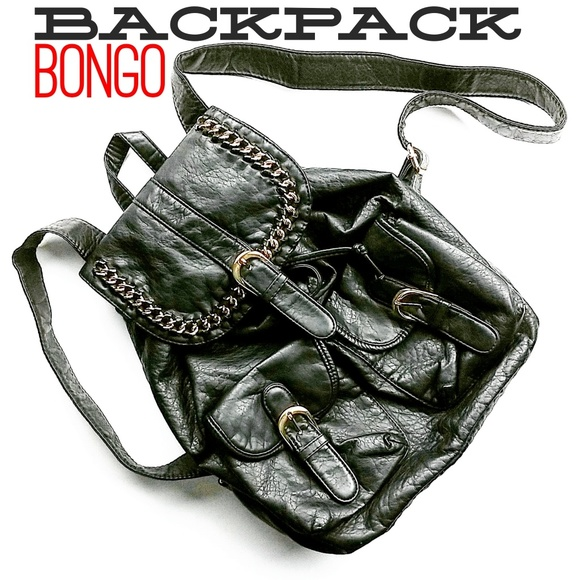 BONGO Handbags - Vegan Leather Backpack With Gold Colored Details